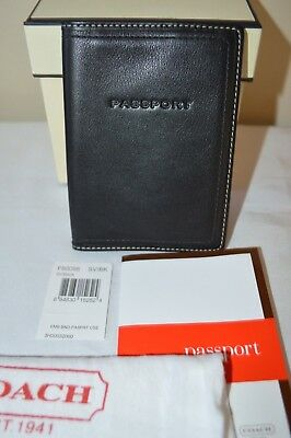 Coach Men's Unisex Calf Leather Passport Holder Case Wallet F60098 Black New NWT