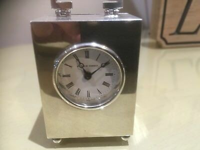 Sterling Silver (solid Hall marked), Miniature Boudoir Matthew Norman Clock