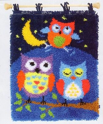 NIGHT OWLS LATCH HOOK RUG KIT or WALL HANGING by VERVACO, BRAND NEW