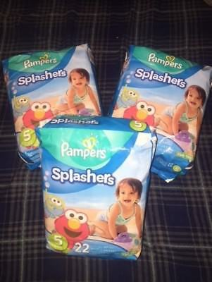 Pampers Splashers - Three Packs Of 22 Disposable Swim Pants - 30-40 Pounds - New