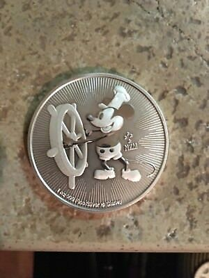 2017 MICKEY MOUSE STEAMBOAT WILLIE 1 Oz. .999 SILVER COIN $2 DOLLAR