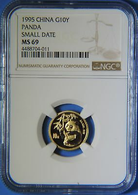 1995 China Small Date 1/10 oz .999 Gold Panda 10 Yuan Coin NGC Graded MS69