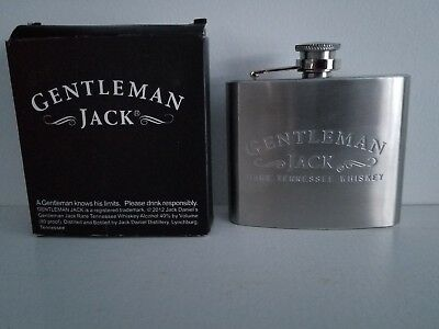 Jack Daniels Gentleman Jack Stainless Steel Flask Rare Tennessee Whiskey 5 OZ
