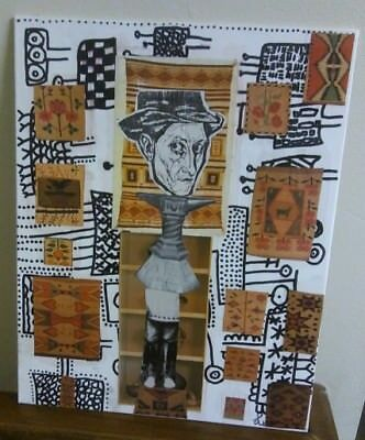 Mixed Media Outsider Steampunk Popart Collage 11 x 14 Canvas Board Vintage Diary