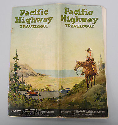 Pacific Highway Travelogue Map 1920's Vintage