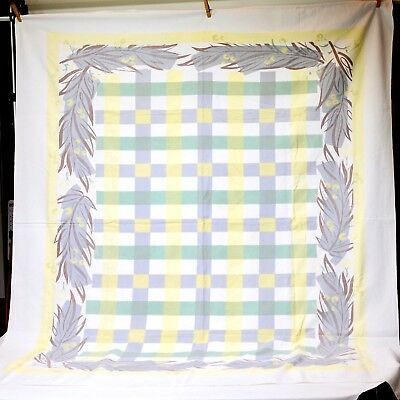 "Large Green/Gray/Brown/Yellow 1950s Cotton Tablecloth Vintage Printed  54"" x 65"""