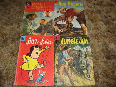 Lot of 4 Vintage Dell Silver Age Comic Books Roy Rogers, Jungle Jim, Little Lulu