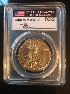 2018 $50 Gold Eagle PCGS MS70 First Day of Issue Signed by John Mercanti