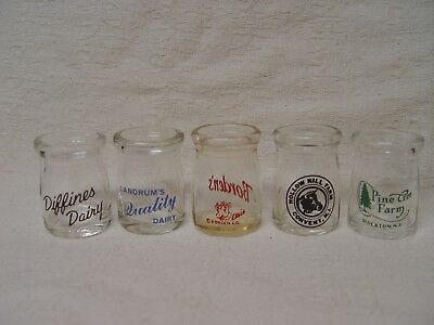 """5 Glass Individual Dairy Creamers With Cap Seats Pyro Advertising 3/4"""" Size"""