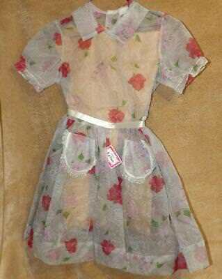 VTG 50s GIRL RED ROSE SILHOUETTE SHEER CHIFFON LACE PARTY EASTER DRESS NEW OLD 8