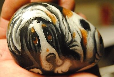 Original Painting~Basset Hound~Tri~Dog~Hand Painted~SToNE~River RoCK~Whimsical~