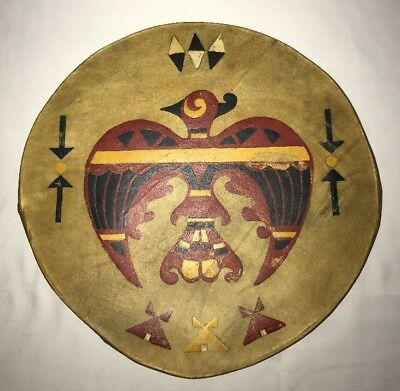 Antique Native American Pow Wow Drum Large Hand Painted Ceremonial Instrument