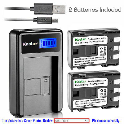 Kastar Battery LCD Charger for Canon NB-2L 2LH Canon PowerShot S45 PowerShot S50