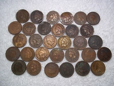 Indian Head cents Lot of 31 coins WELL circulated various dates - see photos