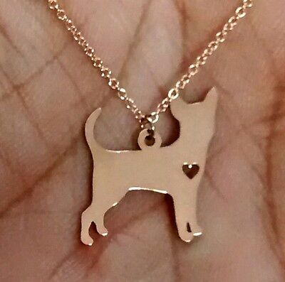 Chihuahua Necklace - Sterling Silver Jewelry - Gold - Rose Gold - Engrave Charm