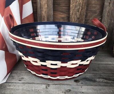 Longaberger All Americana Red White And Blue Beverage Tub Rare