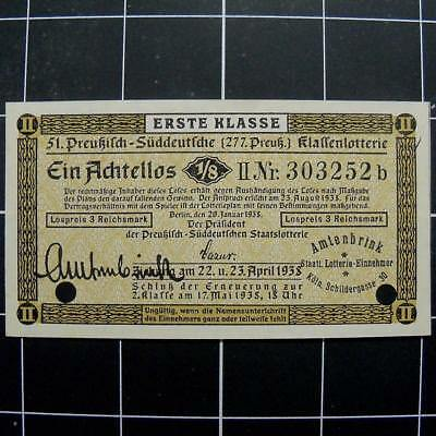 German Nazi lottery ticket-note-1938-3rd reich nazi era Germany-3/12 rm-coupon