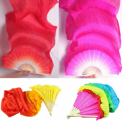 New Colorful Belly Dance Bamboo Long Silk Fans Veils 4 Colors Hand Made Silk Fan