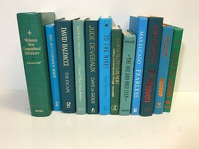 5 TEAL/BLUE/GREEN modern/shabby chic Authentic Decorative Staging Books Lot