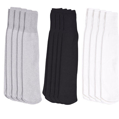 4 Pairs Athletic Thick socks Calf / Knee High Men's Tube Socks White Black Gray