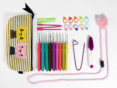 Crochet Hooks Kit Yarn Needles Ergonomic Cat Case Cute New Set Knitting Crafts