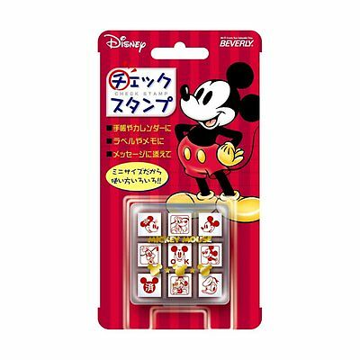 MICKEY MOUSE 9 PCS Mini Rubber Check Stamp DISNEY Kawaii Cute BEVERLY JAPAN F/S