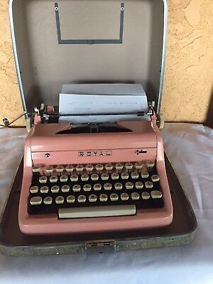 Vintage Pink Royal Quiet Deluxe Portable Typewriter  with Case