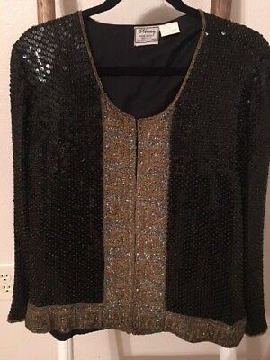 Vintage sequin and beaded jacket/blazer from 1980's black and gold