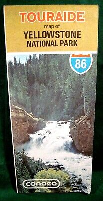 "Conoco TOURAIDE Map of YELLOWSTONE NATIONAL PARK 1986 18"" x 27"" Extra Clean"
