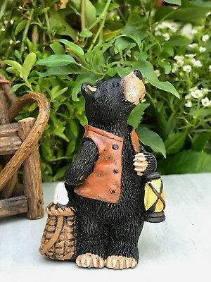 Miniature Dollhouse FAIRY GARDEN Figurine ~ Mini Bear Fisherman w Lantern Basket