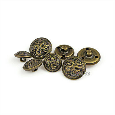 12PCS Antique Bronze Gold Metal Buttons Dragon Round Shank Button Embellishments