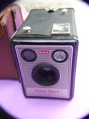 Vintage Kodak Brownie Flash II Box  English Camera  w Case 50's