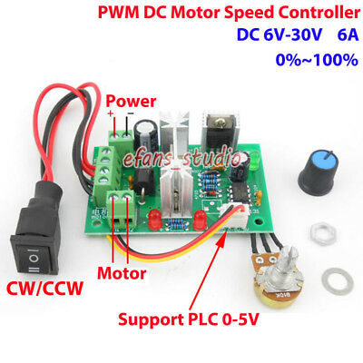 DC 6-30V 12V 24V 6A PWM DC Motor Speed Controller Board CW CCW Reversible Switch