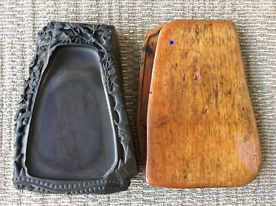 Chinese OLD INK STONE Duan / 竹鳥龍文彫刻 / W 26× D 35× H 6.5[cm] , 8970g