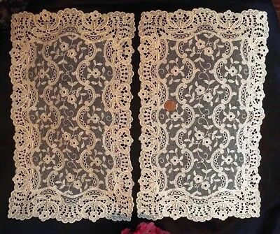 """PAIR, c1880s SWISS CHEMICAL LACE & Silk Net Tray Mats Runners~IVORY~15"""" x 9"""" 💐"""