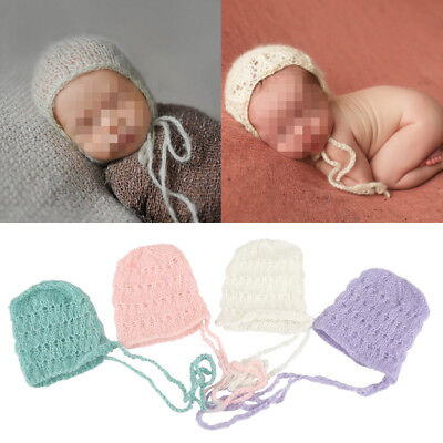 Baby Newborn Soft Mohair knitting Bonnet Hat Photo Photography Prop Cap Outfits