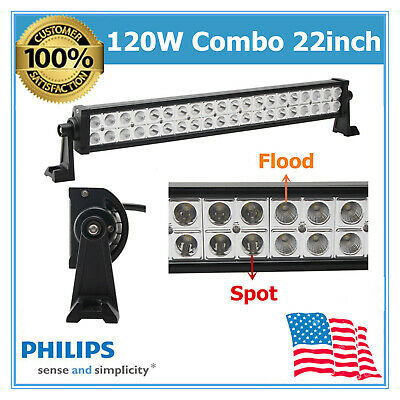 """22"""" 120W LED Light Bar PHILIPS Combo Beam For Driving Off-Road Truck 4X4WD Boat"""