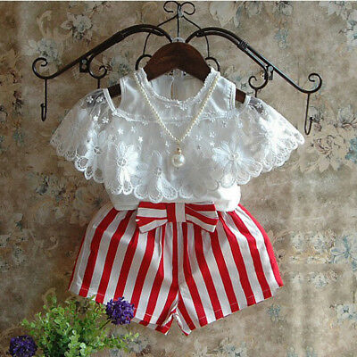 AU Stock Toddler Kids Baby Girls Clothes T-shirt Tops+Shorts Pants Outfits Set