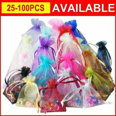 25-100PCS LUXURY Organza Gift Bags Jewellery Candy Pouches Wedding Party Favour