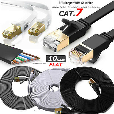 RJ45 CAT7 Ethernet Network SSTP 10 Gbps Patch Lead Flat Cable Cat7 1m to 20m Lot