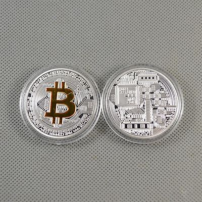2PCS nice Bitcoin Silver Gold Plated Commemorative Collectible Iron Miner Coin