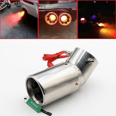 Universal 30-63mm Car Elliptical Bend Spitfire Flaming LED Red Light Exhaust