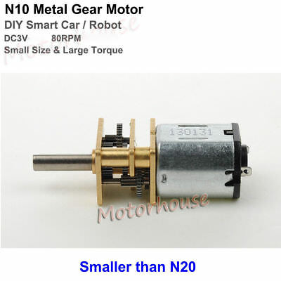 DC 3V 80RPM Large Torque N10 Mini Full Metal Gearbox Gear Motor DIY Robot & Car