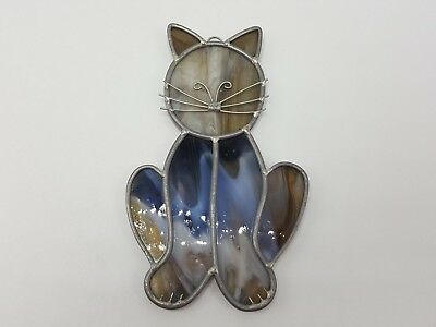 Stained Glass Cat Black Gray Handmade Lead Suncatcher Kitten