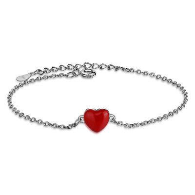 Hot Fashion 925 Sterling Silver Charm Red Heart Chain Bracelet Jewellery Gift