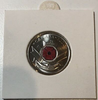 Canada 2004 25c 25 Cents Red Poppy Coloured Coin Remembrance Day From Mint Roll