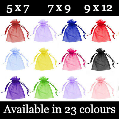 Small Organza Gift Pouches Wedding Favour Bags Jewellery Pouch 23 Colours 3 Size