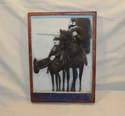 Vintage Antique Hand Carved Thick Wood Panel of Don Quixote & Sancho Panza