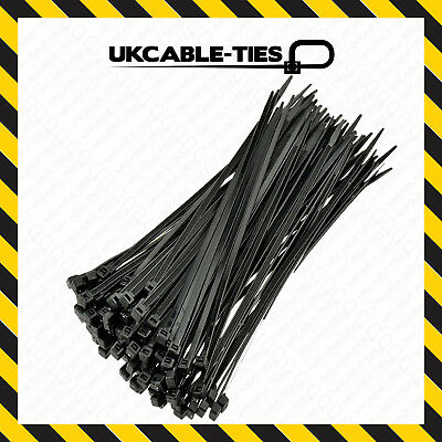 200 Assorted Black Cable Ties Nylon Zip Tie Wraps