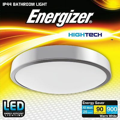Energizer LED Flush Silver Bathroom Ceiling Light Fitting IP44 Rated Zone 1 2 3